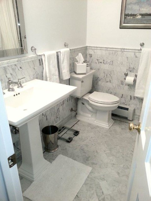 Aci Bianco Venatino Stone Traditional Bathroom Dc
