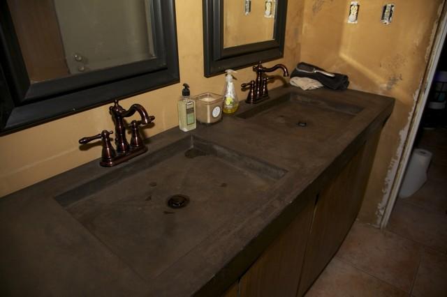 Acid Stained Concrete Countertop - Mediterranean - Bathroom ...