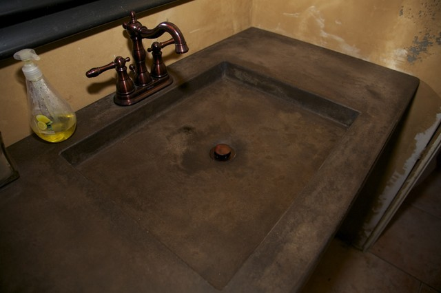 Acid Stained Concrete Countertop Mediterranean Bathroom