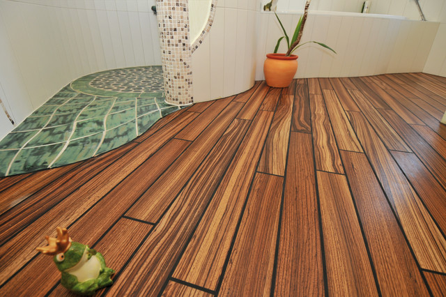Actus XL Laguna zebrano flooring - Contemporary - Bathroom ...