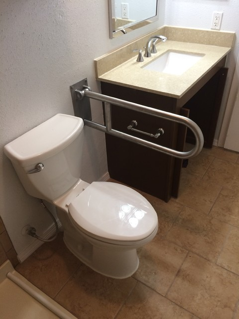 ADA Commode, Flip Up Safety Bar & Wheel Chair Accessible ...