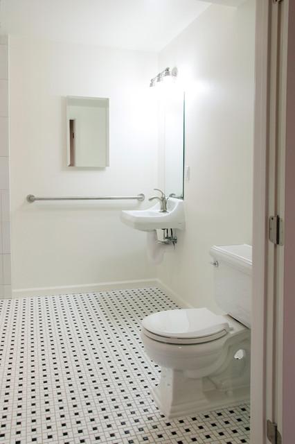 Ada compliant bathroom with wheelchair accessible shower contemporary bathroom san for Ada compliant bathroom accessories