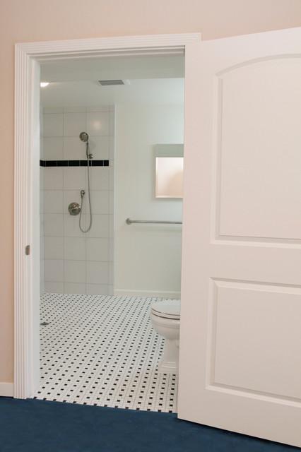 ADA Compliant Bathroom With Wheelchair Accessible Shower Contemporary Bat