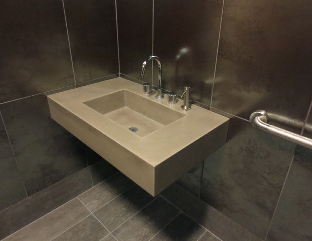 Ada floating concrete bathroom sink contemporary for Floating kitchen sink