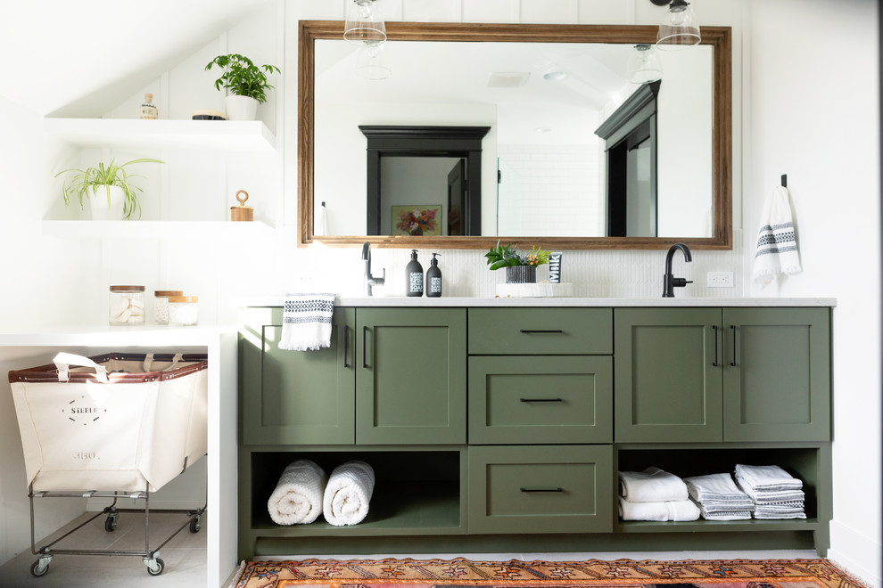 Cottage white floor bathroom photo in Grand Rapids with shaker cabinets, green cabinets, white walls, an undermount sink and white countertops