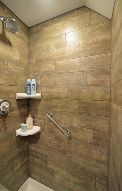 Adirondack cabin bathroom designed wth fabuwood nexus cabinets for Adirondack bathroom design