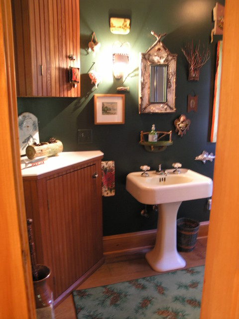 adirondack style inside out eclectic bathroom