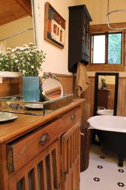 adirondack style lodge rustic bathroom los angeles
