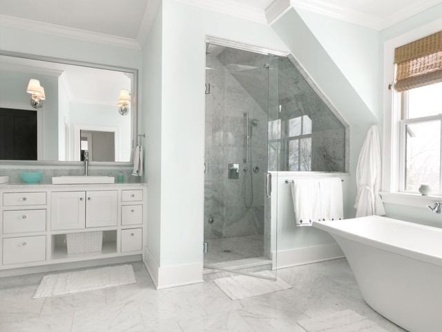 Inspiration For A Large Transitional Master White Tile And Stone Tile Marble  Floor Bathroom Remodel In