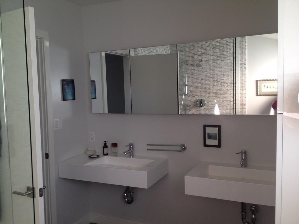 ADM Bathroom Rectangular Wall Mounted Sink, White, 39 ...