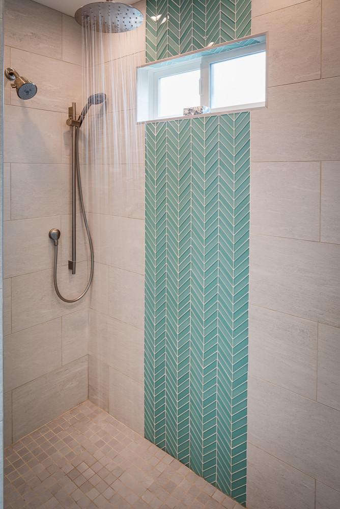 After: Master bath custom tiled shower.