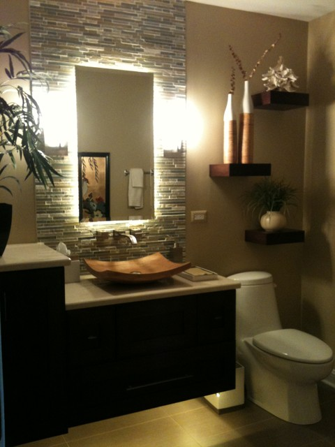 Tropical Bathroom Wall Sconces : After Vanity - Tropical - Bathroom - chicago - by J. Powless Fine Cabinetry