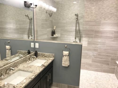 Bathroom featuring Alaska White granite
