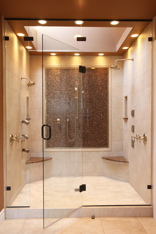 Are these natural stone tiles on the shower walls, floor and on the ...