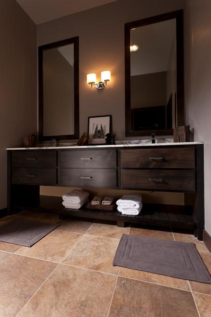 Alder wood   Valley Forge door   Custom finish contemporary-bathroom