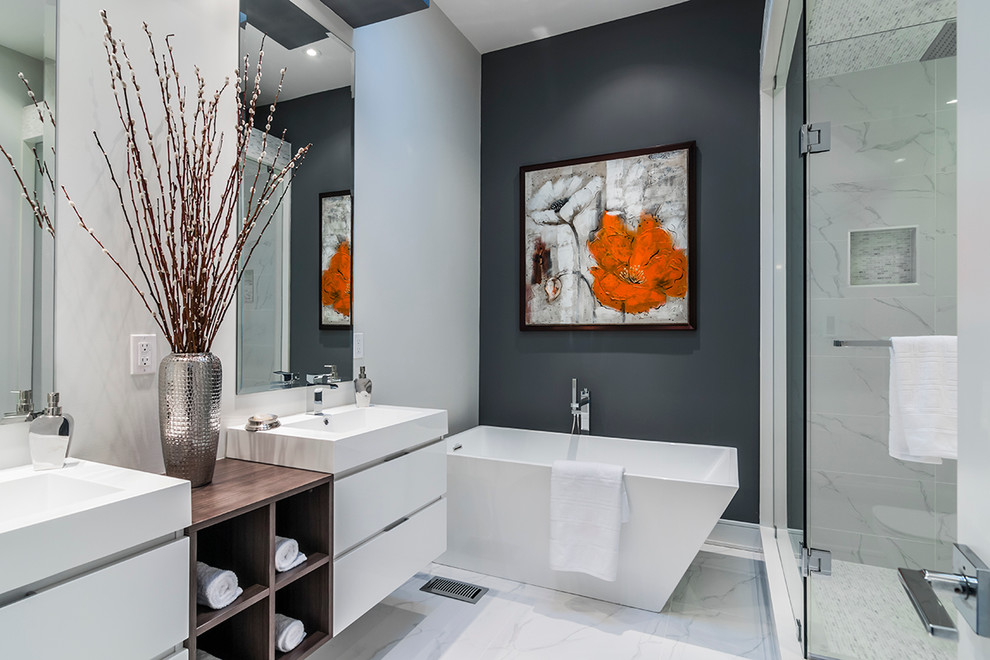 Example of a trendy master white tile bathroom design in Toronto with a vessel sink, flat-panel cabinets, white cabinets and gray walls