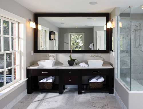 Black Beauty For A Clean And Clic Look Go Large Frame Mirror The Width Of Should Be Enough To Cover Wall Vanity