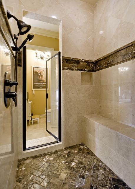 All marble shower mediterranean bathroom little rock for Little rock custom home builders