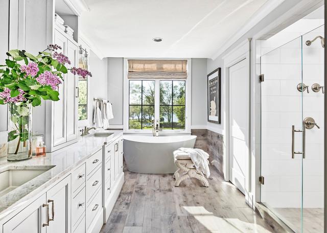 All White Master Bathroom Coastal