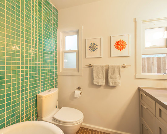 Bathroom design ideas renovations photos with blue tiles for Arts and crafts style bathroom design