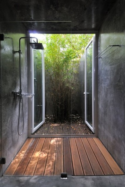 Amazing Shower tropical bathroom
