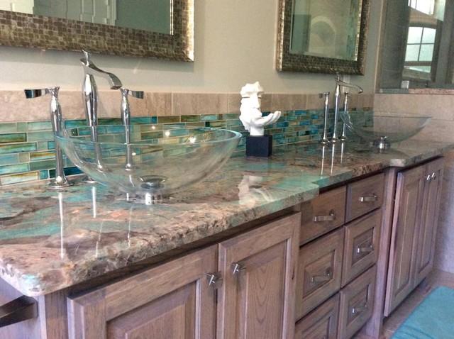 Amazonite Turquoise Quartzite Eclectic Bathroom
