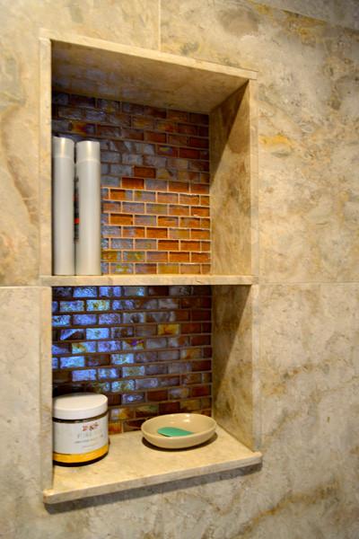 Bathroom Nook amber glass tile bathroom nook