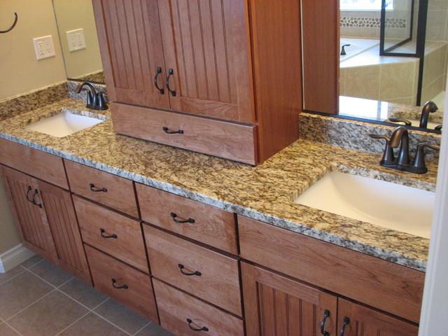 Amber Yellow granite on cherry pecan cabinets modern bathroom