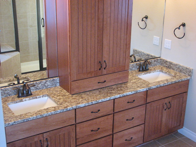 Amber Yellow Granite On Cherry Pecan Cabinets