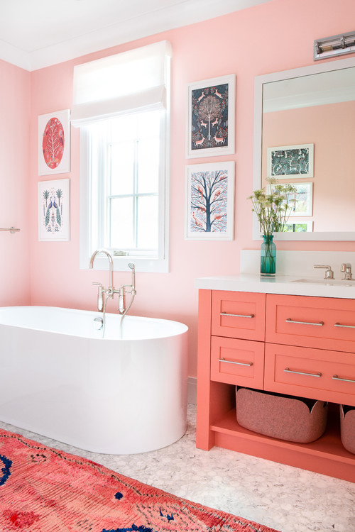 coral pink farmhouse bathroom interior