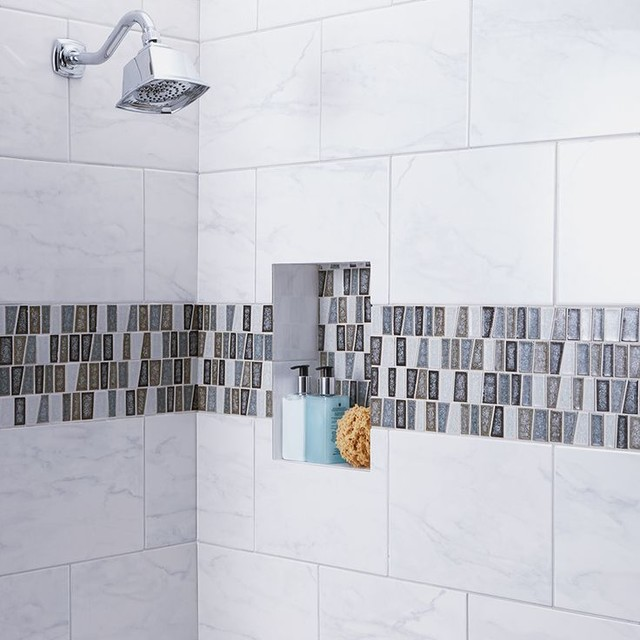 American Olean Mirasol Marble Look Porcelain Tile Bathroom Shower Traditional