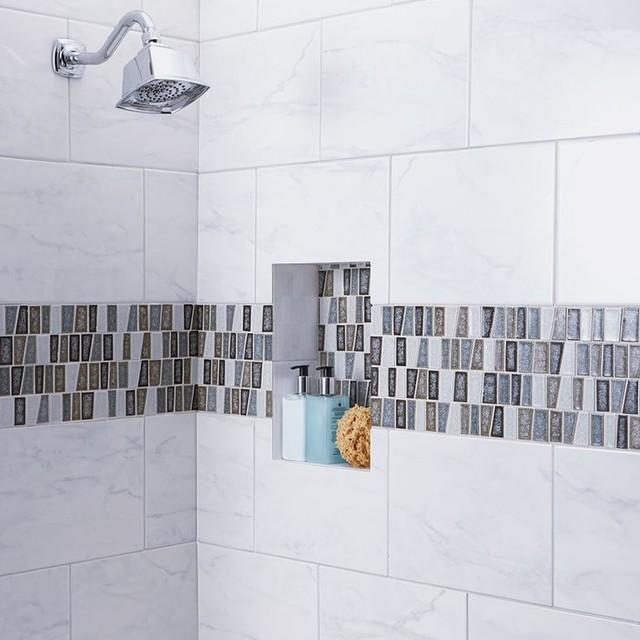 American Olean Mirasol Marble Look Porcelain Tile Bathroom Shower Traditional