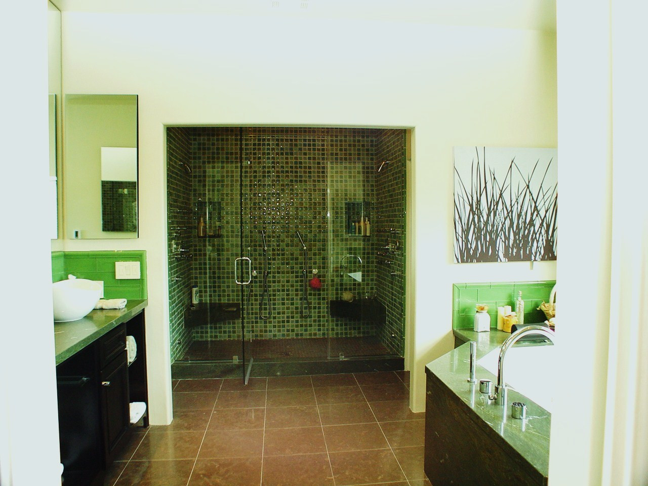 An at home Spa-like Bath design by Elaine Morrison. Body and shower sprays for 2