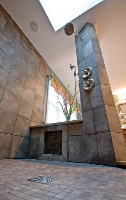 An award winning open concept shower for the master bath for Open shower bathroom