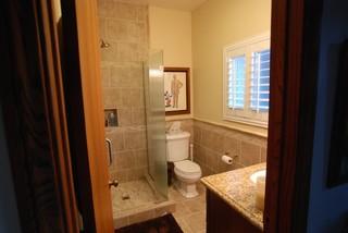 Anaheim Corner Shower & Reeded Glass Frameless Doors & Shower Handheld - Modern - Bathroom ...