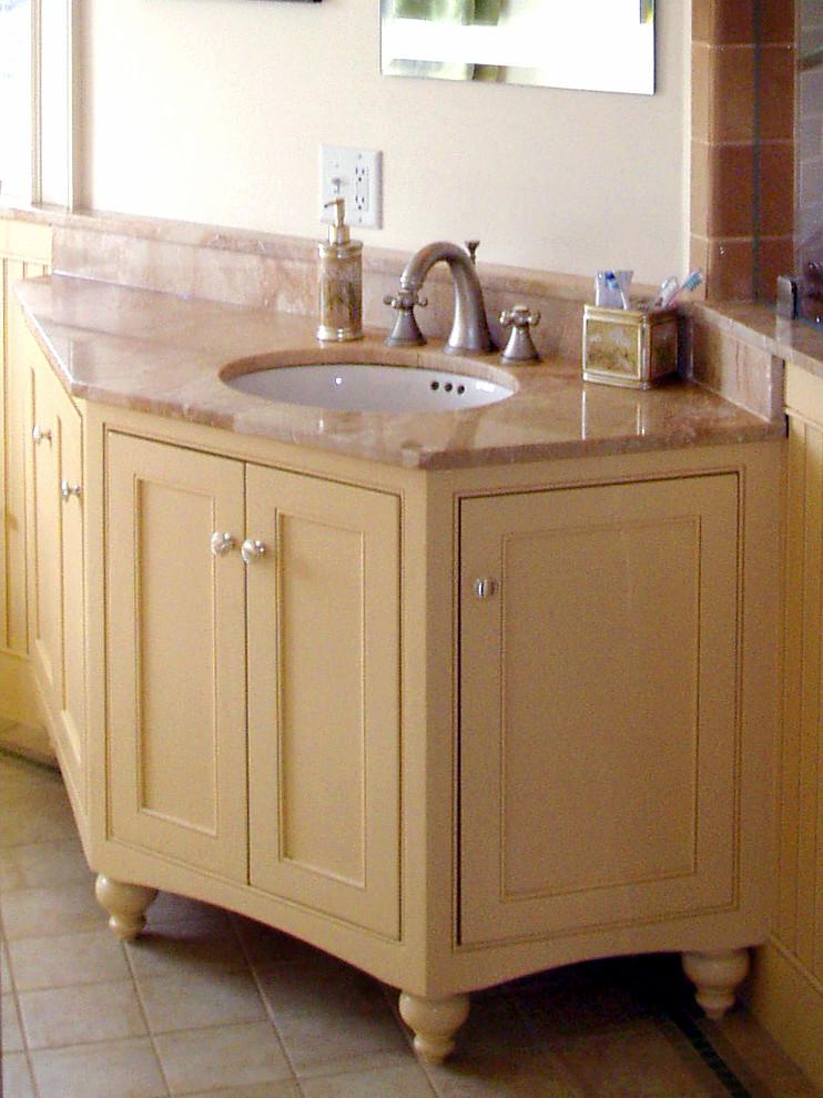Angled Vanity With Bun Feet Traditional Bathroom Other Houzz