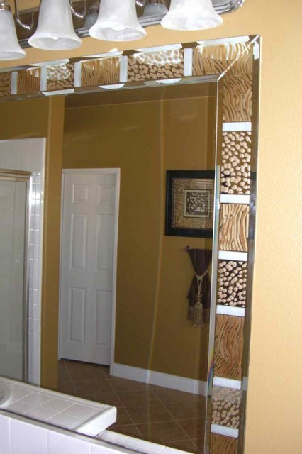 Animal Print Border Decorative Mirror With Etched Carved Design Bathroom Other Metro By