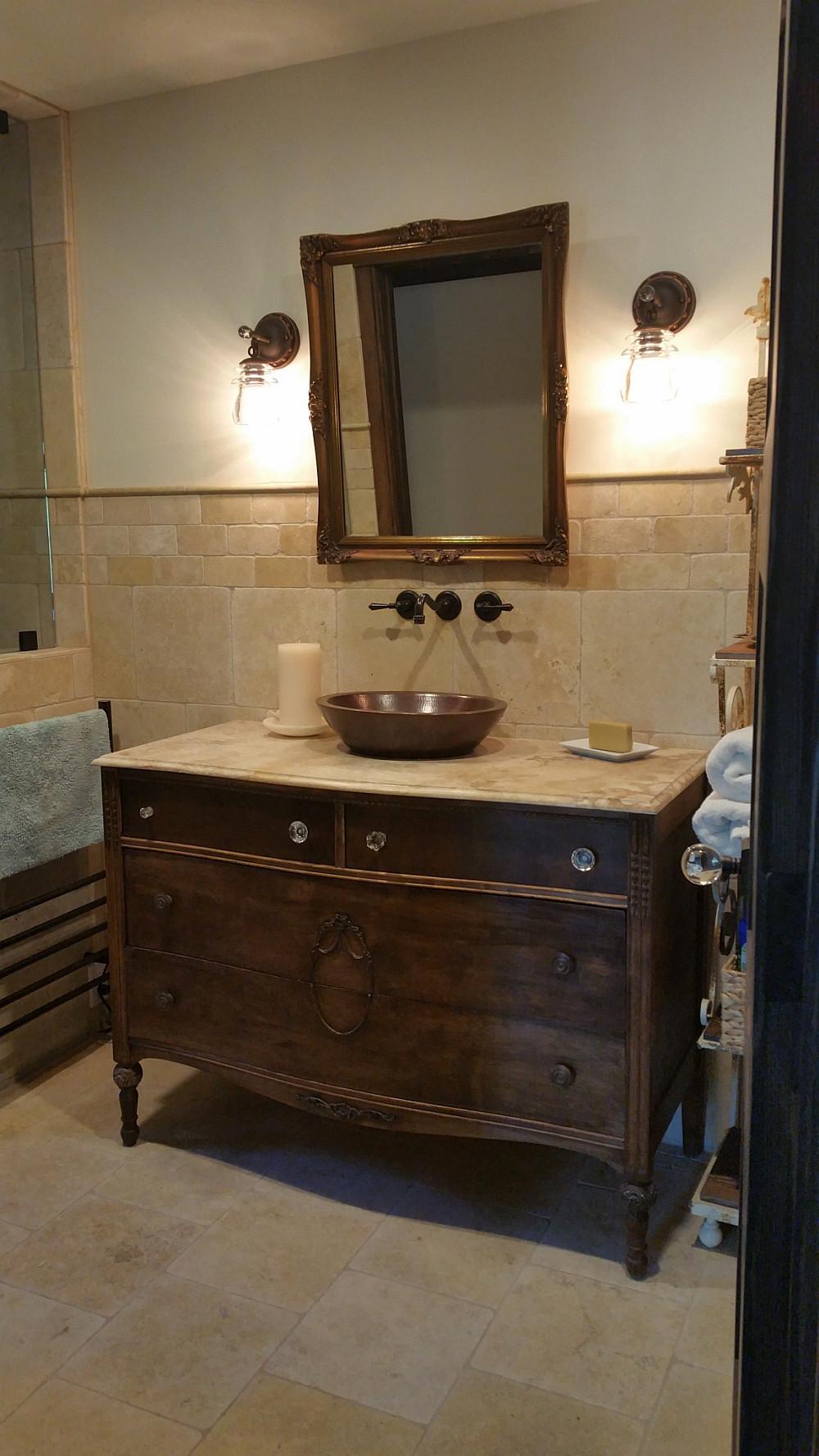 Antique furniture - hammered copper vessel sink