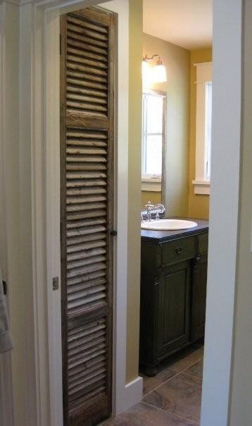 Antique Shutter As Linen Closet Door Antique Sideboard As