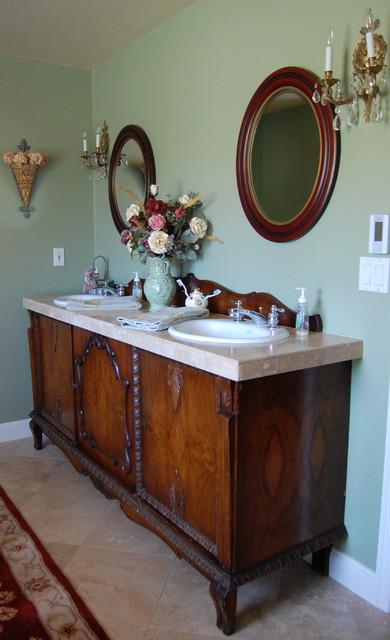 Antique sideboard buffet turned into double sink vanity - Antique white double sink bathroom vanities ...