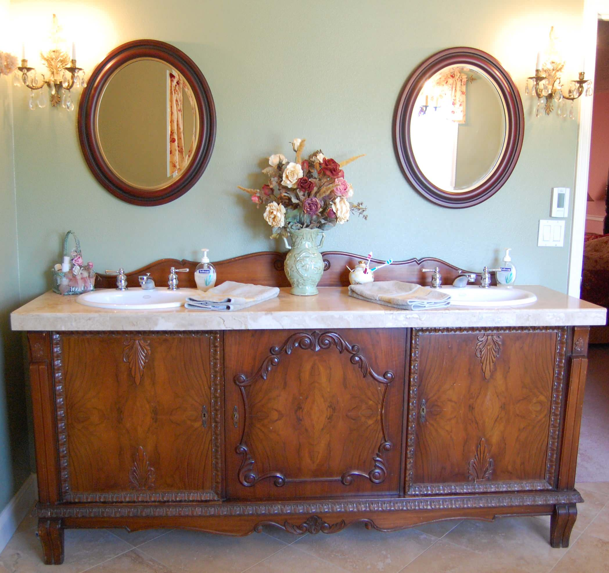 Antique Sideboard Buffet Turned Into Double Sink Vanity Traditional Bathroom Portland By Julie Murray Houzz