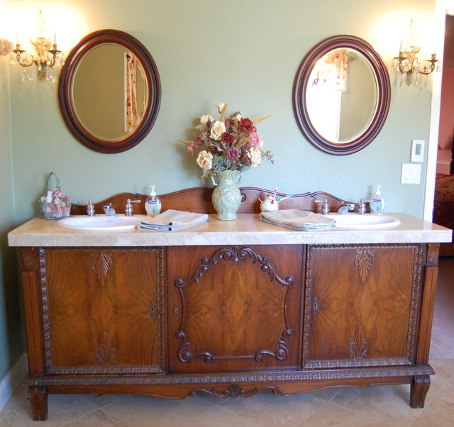 Inspiration for a timeless bathroom remodel in Portland with a drop-in sink  and furniture - Antique Dresser Vanity Houzz