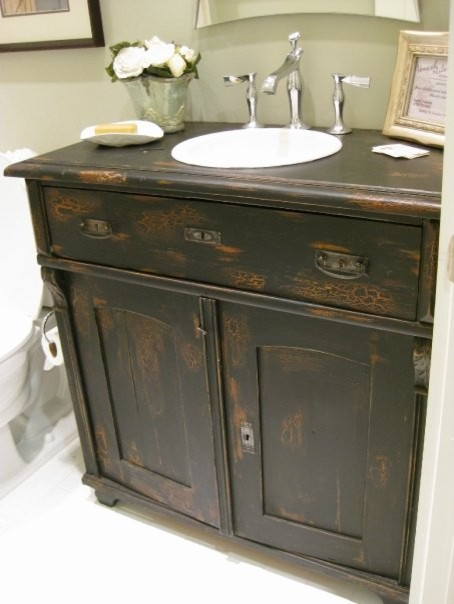 Antique sideboard used as bathroom vanity eclectic bathroom