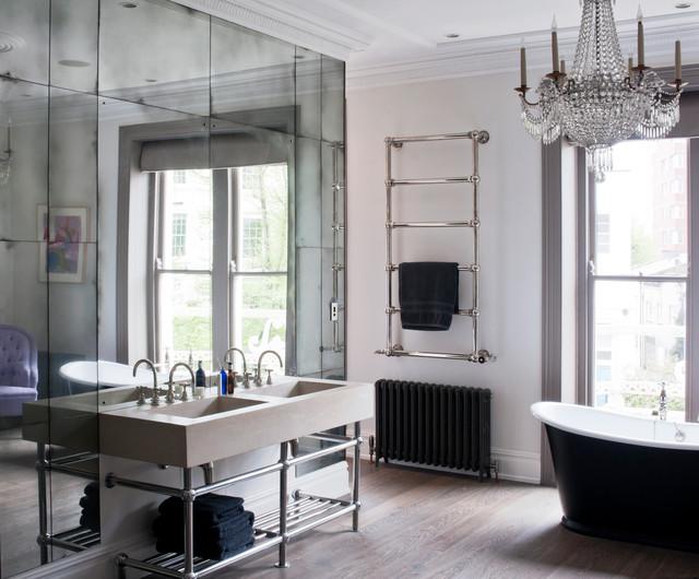 Antiqued Mirror Glass Modern Bathroom