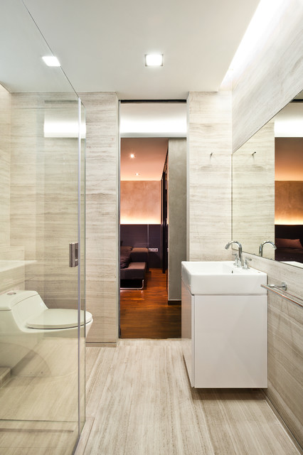 Apartment at Tiong Bahru - Singapore contemporary-bathroom