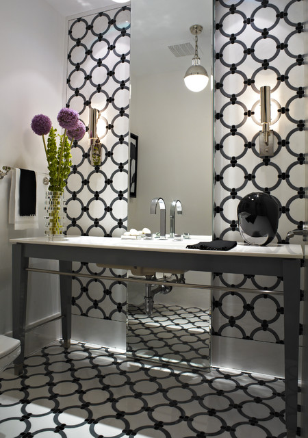 Mid-sized trendy 3/4 black and white tile bathroom photo in Miami with gray cabinets and white walls