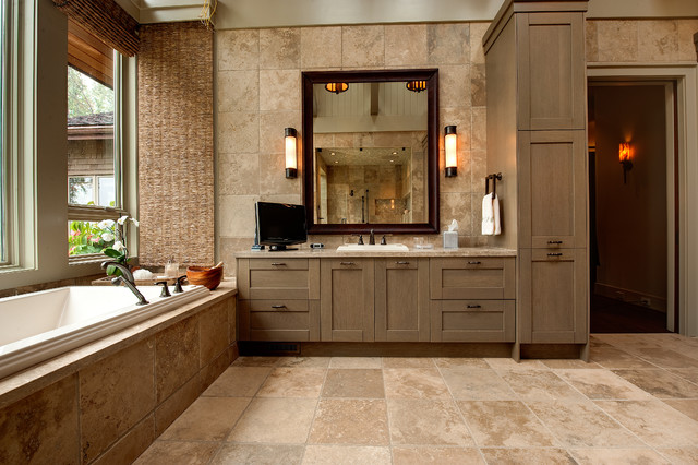Apple farm rustic bathroom atlanta by moon bros inc for Bathroom designs earth tones