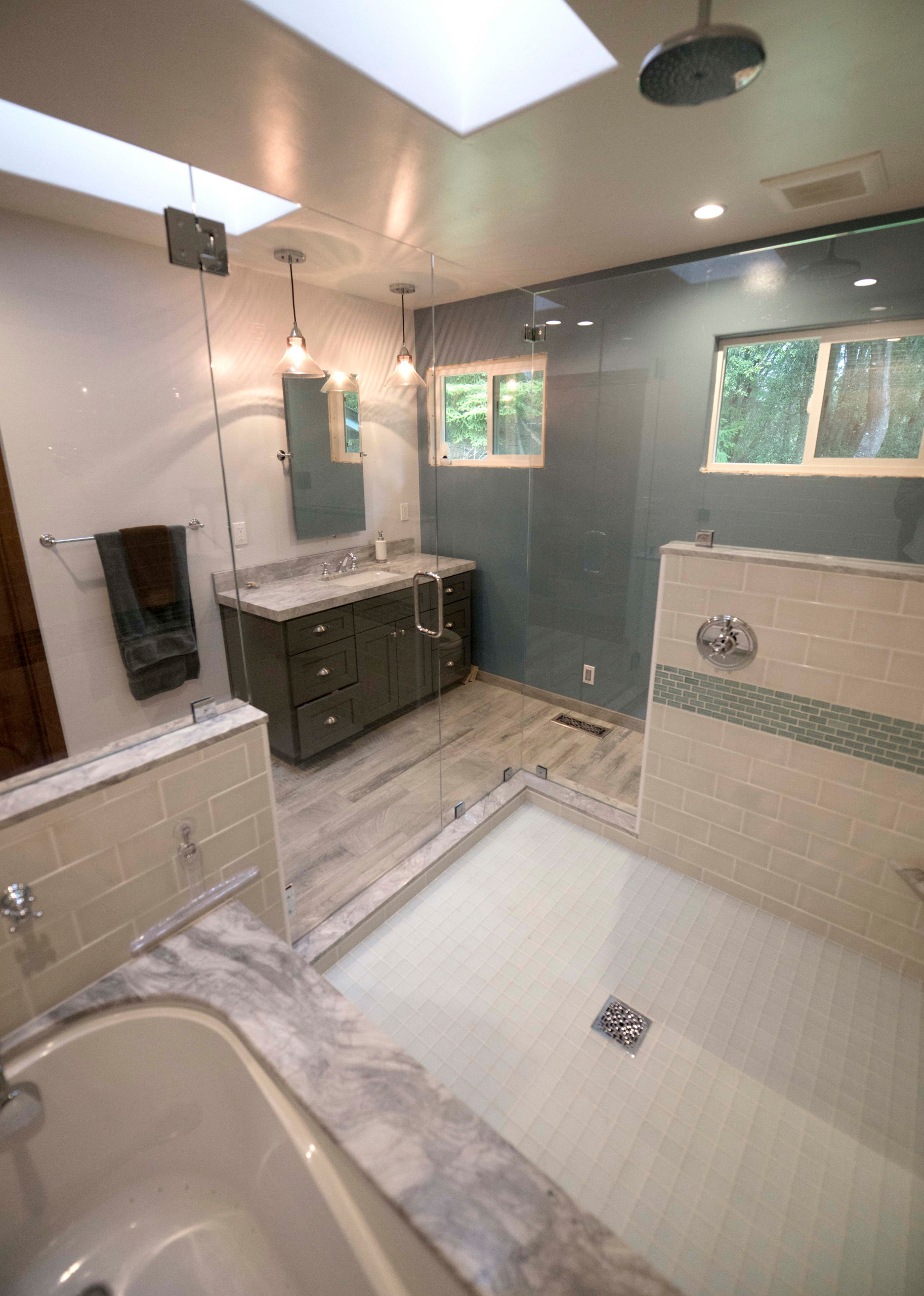 Image of: 75 Beautiful Travertine Floor Bathroom With Blue Cabinets Pictures Ideas November 2020 Houzz