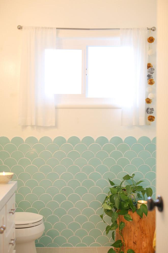 aqua scalloped tile bathroom eclectic