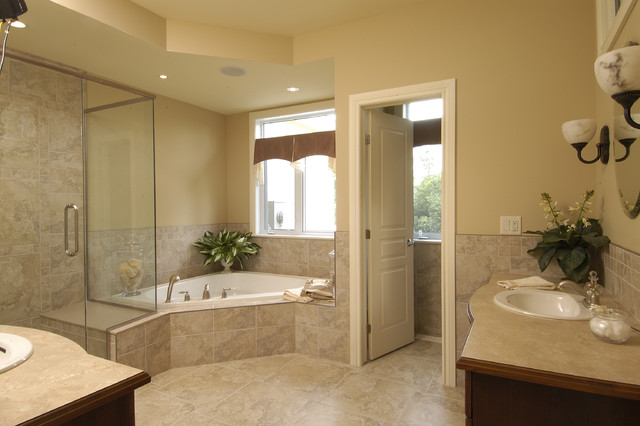 Arbourbrook estates model home traditional bathroom for Model home bathroom photos